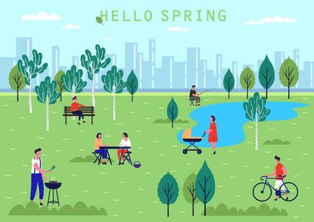 Frühlingspark mit See und Birken. Frau mit Kinderwagen oder Kinderwagen, Mann auf Bank und Dame beim Picknick, Mann mit Fahrrad. Urlaub und Erholung, Menschenaktivität oder Freizeit im öffentlichen Parkthema