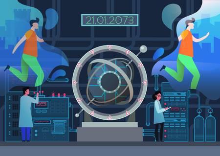 Machine à remonter le temps au laboratoire. Un homme de jogging se téléporte du passé vers le futur, des scientifiques effectuant la téléportation de personnes vers un univers parallèle, une porte ou un tunnel, un portail pour le vortex temporel. Vecteurs