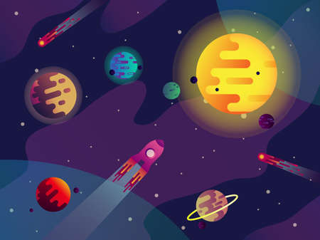 Galaxy or cosmos, sun, planets, spaceship, comets