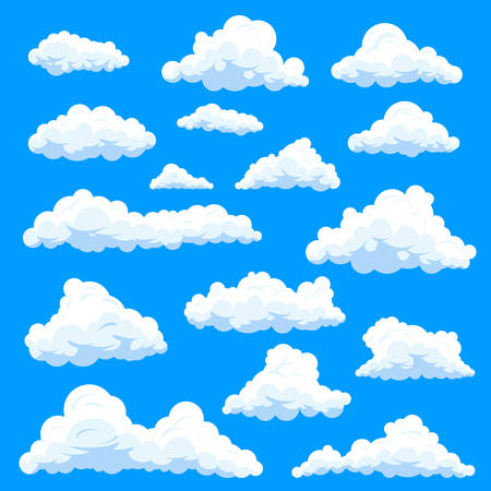 Set of isolated clouds in sky, cumulus and fluffy eddy or simple swarm at summer day, beautiful heaven. Weather forecast and skylight, nature and stratosphere theme, prognosis theme Stock Illustratie