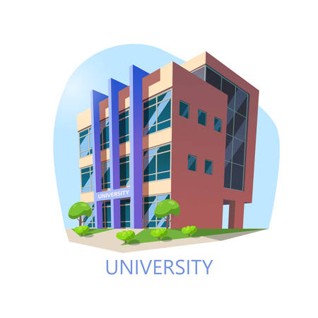 Isometric university building. Modern construction for higher education, exterior view at municipal college or university. Architecture and study, knowledge institution and panorama theme