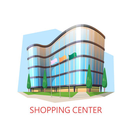 Mall building or shopping center, centre. Supermarket or shop, store or market. Structure for buying goods, modern supermarket construction. Architecture and shopping, urban panorama theme Ilustracja