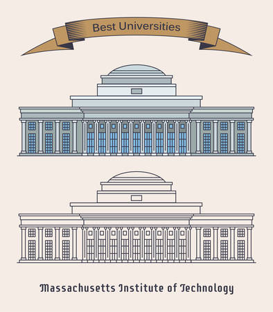 Building of MIT or Massachusetts Institute of Technology. Private research university in Cambridge, America or USA. Facade of educational building. Architecture and education theme 일러스트