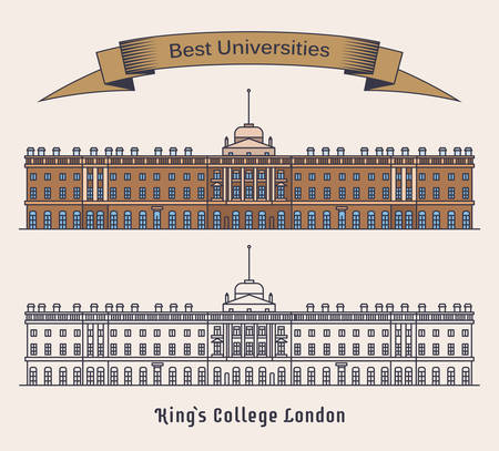 Kings College London or KCL. Public research university in England. Educational building in UK or United Kingdom, Facade of academy. Science and architecture, education and learning theme