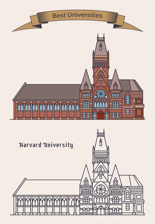 Facade of harvard university or private Ivy League research building in Cambridge, Massachusetts. Academy in USA or America. Education and architecture, knowledge and science theme