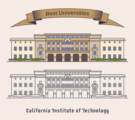 California Institute of technology or Caltech building. Private doctorate-granting university construction in USA or America, Pasadena. Construction facade. Architecture and education theme