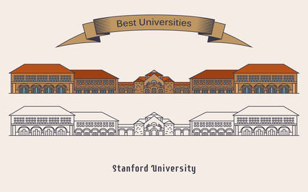 Université de Stanford ou Leland Stanford Junior University en Amérique ou aux États-Unis, en Californie. Façade du bâtiment éducatif, vue extérieure sur la structure. Education et architecture, thème scientifique Vecteurs