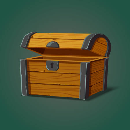 Classic opened pirate chest or isolated isometric crate, wooden piratic container for treasure or box for locking money, old or ancient, antique trunk. Wealth and packaging, sea or ocean game theme