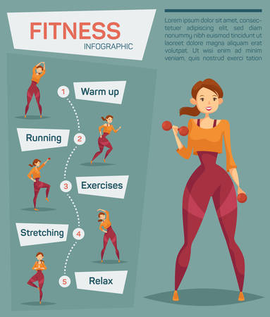 Infographic for sport or fitness. Woman doing weight exercise, jogging and stretching, warm up and relaxing yoga near infochart. Healthy and active lifestyle, gymnastic and aerobics info, weight loss