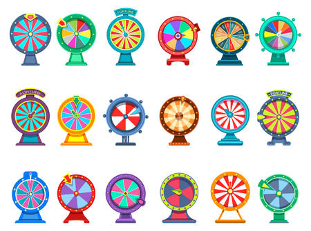Set of isolated gaming wheels of fortune or betting roulette with arrows for web internet casino. Icons for gamble, chance and opportunity. Winner and risk, random prize and gamble, lottery theme