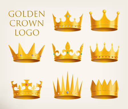 Set of isolated monarch crowns icons or golden 3d king, queen headdress logo, prince or princess realistic tiara logotype, heraldic diadem or royal game icon. Gold heraldry and coronation, award