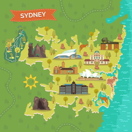 Sydney map with Australian Reptile Park and Opera House, Observatory and Jenolan Caves, Blue Mountains and Bondi Beach, Taronga Zoo and national maritime museum, garden mount annan. Landmark, tourism 矢量图像