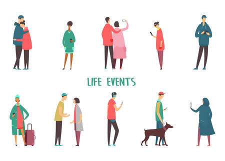 Set of isolated people icons at walk. Couple taking selfie and argue, hugging. Man walking with dog and with tablet, characters with smartphone, woman using phone for chatting. Life events, stroll Vetores