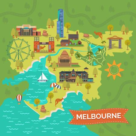 Map of melbourne with Shrine of Remembrance, Captain Cooks Cottage, Eureka tower, Royal zoo gardens, star or ferris wheel, Port Phillip Bay, Dandenong park, Rippon Lea Estate. City tourism, landmark