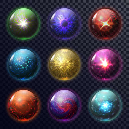 Set of isolated magic balls or spheres for foretelling, orb for future prediction, fortune teller mystic glass globe, glowing magical circle for soothsayer, psychic. Astrology and superstition,mystery Stock Photo