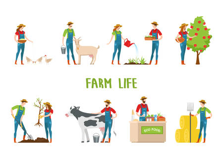 Set of isolated agriculture farmers. Man and woman gardeners feeding chickens and goat, harvesting apple tree and gardening, selling eco food and collecting hay. Village animals and countryside