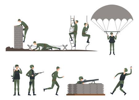 Set of isolated soldiers at training. Man in camouflage crawling and holding gun, army marine climbing rope ladder and wall, using parachute and throwing grenade, jogging. War exercise and military