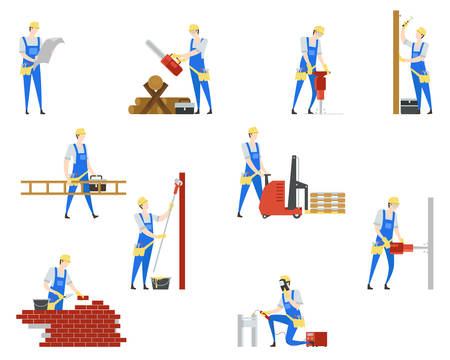 Set of isolated people at building. Man at work as builder and engineer, carpenter and welder, mason. Flat character in uniform with ladder and hammer, brush. Repairman, job and employee theme