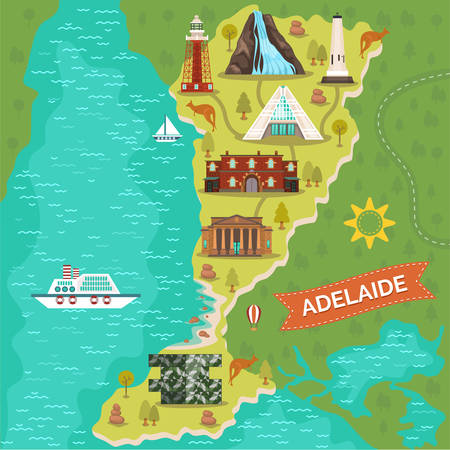 Map of Adelaide town or city. Australian landmark journey or travel banner. Port and Darenberg cube restaurant, art gallery and Gully waterfall, mount lofty summit, bicentennial conservatory and Gaol