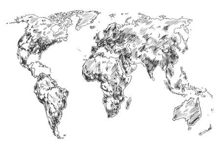 Hand drawn world map, sketch of planet earth atlas. North and South America, Africa and Eurasia, Australia and Antarctica continents and world ocean. Globe wallpaper. Travel and geography theme