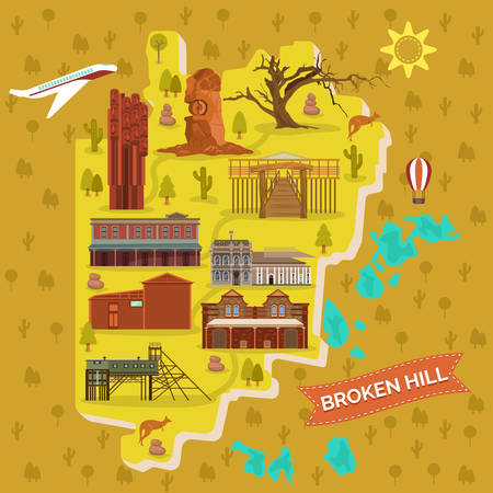 Australian Broken Hills map with famous landmark. Town or city with Afghan mosque and Geocentre, regional art gallery, Kinchega and Living Desert national park, Trades Hall and Woolshed. Sightseeing