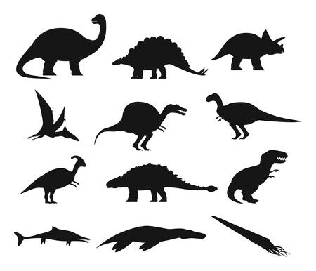 Set of isolated ancient dinosaurs outline. Contour with prehistoric dino, underwater basilosaurus and plesiosaur, t rex and pterodactyloidea, basilosaurus and spinosaurus, brachiosaurus.Extinct animal