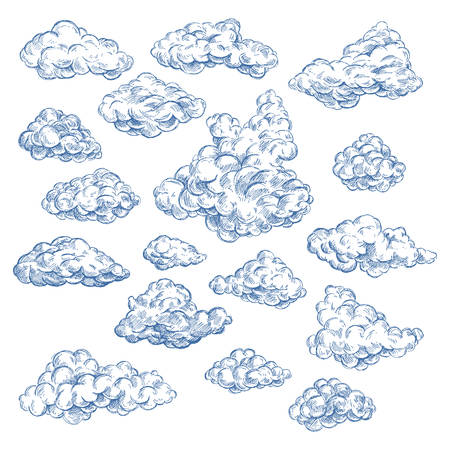 Sky sketch with isolated cumulus white clouds. Spring air or summer heaven. Fluffy vapor at cloudscape. Outdoor view at atmosphere. Scenic nature. Meteorology and nature, weather forecast theme