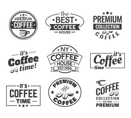 Set of isolated cups with coffee beans. Logo for shop or insignia for store, logotype for bistro and sticker for cafeteria menu, restaurant label for premium NY coffee house. Vintage or retro banner Vettoriali