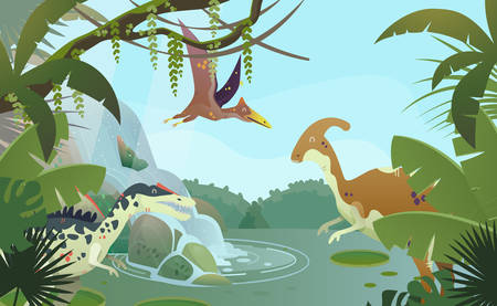 Waterfall with prehistoric parasaurolophus, spinosaurus or allosaurus, pterodactyloidea. Ancient nature and animals. Stream at jungle with ancient lizard or extinct reptile. Wildlife and jungle Illusztráció