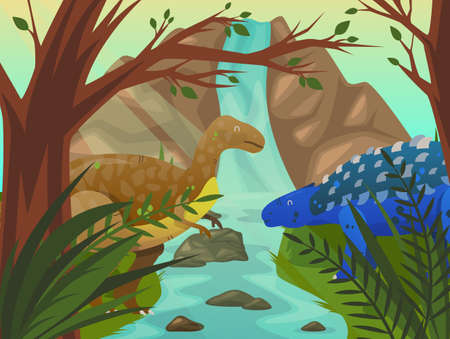 Dinosaur at forest or meadow with waterfall. Velociraptor and stegosaurus near tree and mountain or rock. Prehistoric and ancient wildlife at nature. Cartoon carnivore animals and nature theme