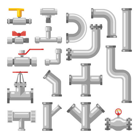 Set of isolated pipe parts, tube crosses and valves for water and oil, gas, metal industrial pipeline icons for engineering. Chemical industry, sewer and plumbing, heating, fuel technology theme Çizim