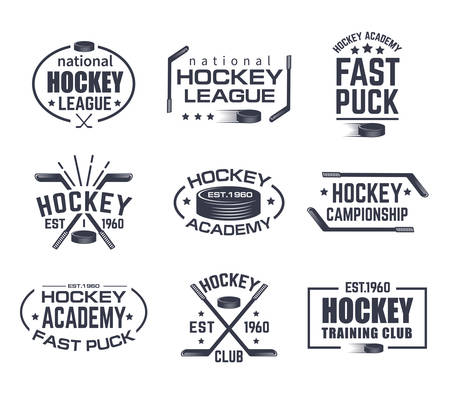 Set of isolated hockey logo with stick and puck. Vintage signs with stars for winter sport. Tournament or training club emblem, national league sign. Branding for clothing or game advertising theme