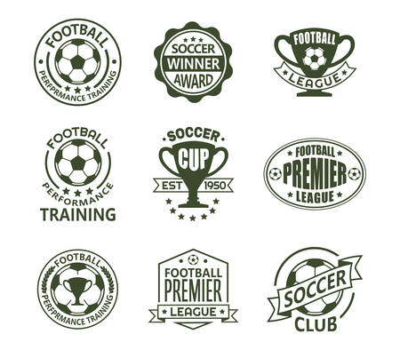 Set of isolated vintage european football signs. Retro emblems with ball and ribbon, cup or trophy for soccer club. Logo for national tournament or team, training club. Sport and competition theme Logo