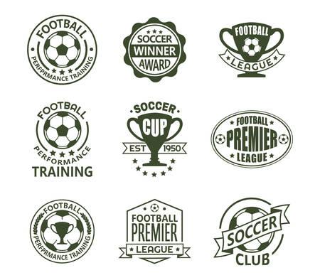 Zestaw znaków na białym tle rocznika europejskiej piłki nożnej. Retro emblematy z piłką i wstążką, puchar lub trofeum dla klubu piłkarskiego. Logo turnieju narodowego lub drużyny, klubu treningowego. Temat sportu i zawodów Logo