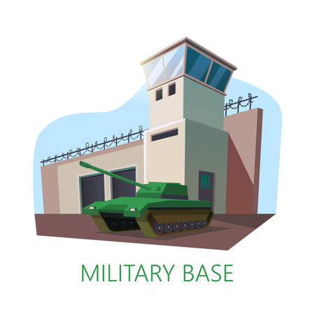 USA military base building and tank. American construction with watchtower and fence with barbed wire. US camp for special forces with artillery vehicle. War and authority,troop and architecture theme Ilustracje wektorowe