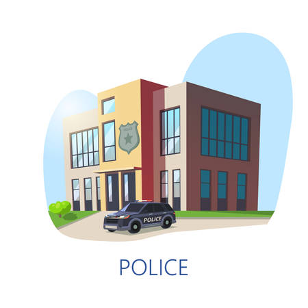 Isometric view on police department or station building. Policeman construction with guard sign and police car. Exterior view on crime department. Force and emergency, security and architecture theme Illustration