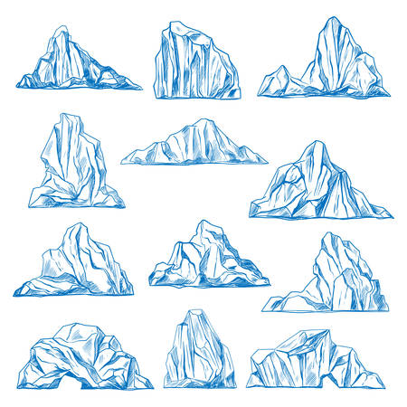 Set of isolated icebergs sketch or hand drawn mountains. Drifting frozen water or rocks. Antarctic ice peaks at ocean. Cold icicle. North and south pole, nature and crystal, cold and winter theme Reklamní fotografie - 126146647