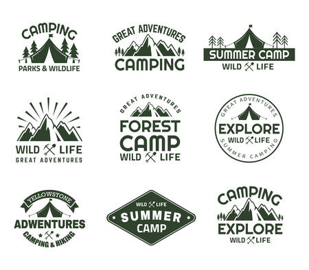Set of isolated mountain in forest signs for camping club. Peaks for journey emblems, rocks for yellowstone travel badges. Hiking and outdoor sport, camping and adventure, expedition icons