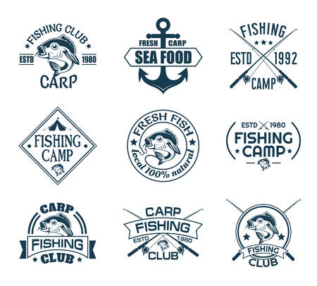 Set of isolated icons with fish for fisherman club. Sport fishing emblem or angler recreation sign. Anchor and carp, rods and hook on nautical logo. Underwater and nautical, sea and river catch theme