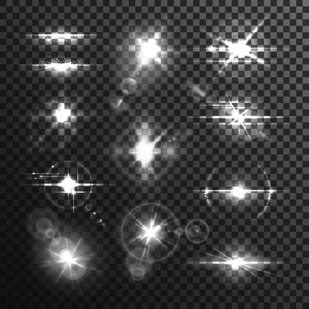 Set of isolated star flare or light effect through lens on transparent background. Burst backdrop template or bokeh, glowing beam and bleak, bright explosion and ray radiance. Explosion, illumination
