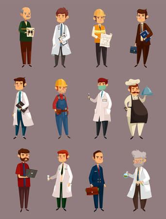 Cartoon man jobs or professions, work. Doctor and chemist, psychological and dentist, engineer and builder, dentist and radiologist, cook or chef, banker. People and employee, staff and intern theme Иллюстрация