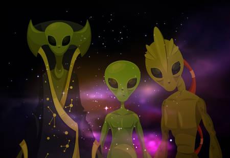 Extraterrestres transparentes frente al cosmos o marcianos en el espacio. Invasores en el cosmos, secuestro de ovnis o visita alienígena, mutante humanoide o monstruo en el universo Galaxia y misterio, visitante de Roswell, tema de ciencia ficción
