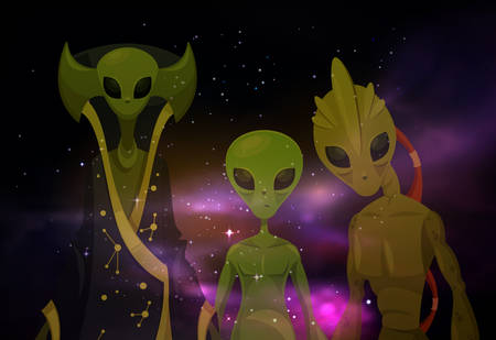 Transparent aliens in front of cosmos or martians in space. Invaders in cosmos, ufo abduction or alienate visit, humanoid mutant or monster at universe.Galaxy and mystery, roswell visitor,sci-fi theme Vectores