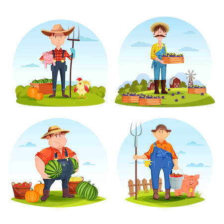 Set of isolated farmers with animals or gardeners with vegetables. Man with pig and hen, redneck with plum and watermelon, pitchfork. Agriculture and farm harvest, village crop theme Çizim