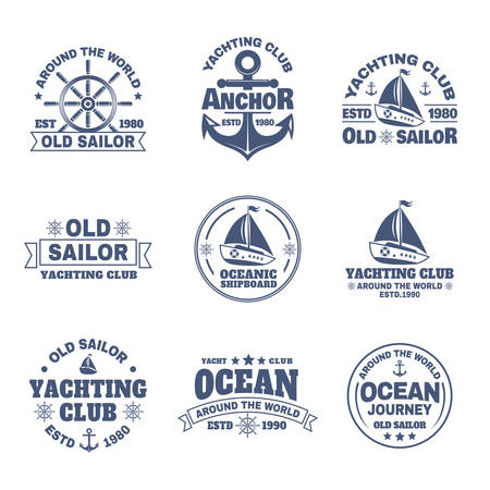 Set of isolated yacht and anchor, ship s wheel icons. Logo with boats or vessels for ocean journey. Signs for sailing trips or travels around the world. Sport sailing and ocean, nautical theme Logo