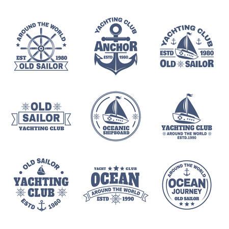 Zestaw na białym tle jacht i kotwica, ikony koła statku. Logo z łodziami lub statkami na podróż oceaniczną. Znaki na rejsy żeglarskie lub podróże dookoła świata. Żeglarstwo sportowe i oceaniczne, motyw morski Logo