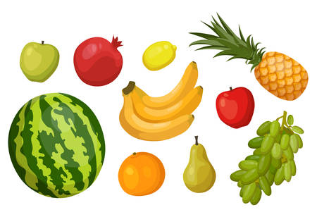 Set of isolated summer and garden fruits. Apple and pomegranate or garnet, lemon and apple, pineapple or ananas, watermelon and orange, pear and grape. Farming and harvest, agriculture theme Çizim