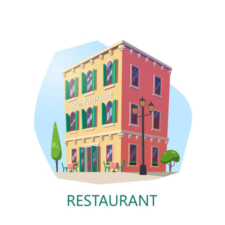 Building of restaurant at isometric view. Eatery construction or eating house. Saloon structure or buffet facade, brasserie or cafe. Shop or store for food and drink at lunch, dinner. Architecture