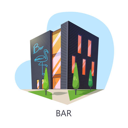 Outdoor view at bar building or taproom construction. Isometric saloon for alcohol or night drink and snack. Cartoon facade of barroom or beer house entrance with flamingo. Building architecture Çizim