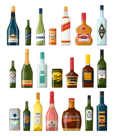 Set of isolated alcohol bottles, booze or beverage, drinks in glassware can. Lager beer and vodka, cognac and rum, wine and champagne, bourbon and brandy, tequila and scotch. Winery and bar theme Vettoriali